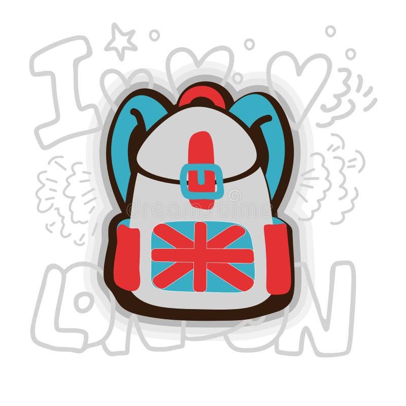 Illustration anglaise de vecteur de bande dessinée de sac à dos Sac de Scholl avec le drapeau anglais et les couleurs nationales  illustration libre de droits