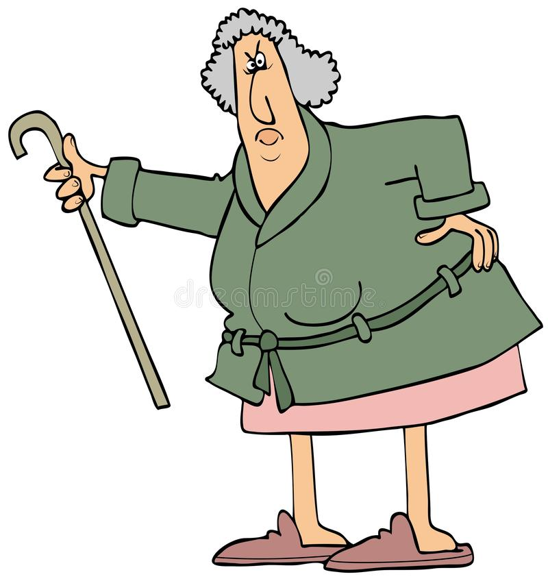 Angry old woman shaking her cane stock illustration