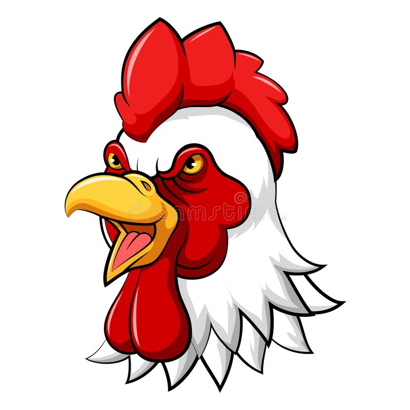 Angry rooster head mascot stock illustration
