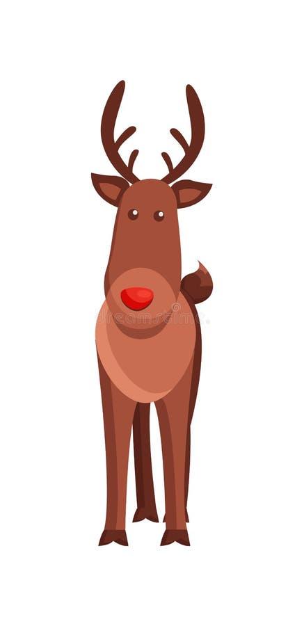 Illustration animale à cornes de vecteur de cerfs communs de Noël illustration stock