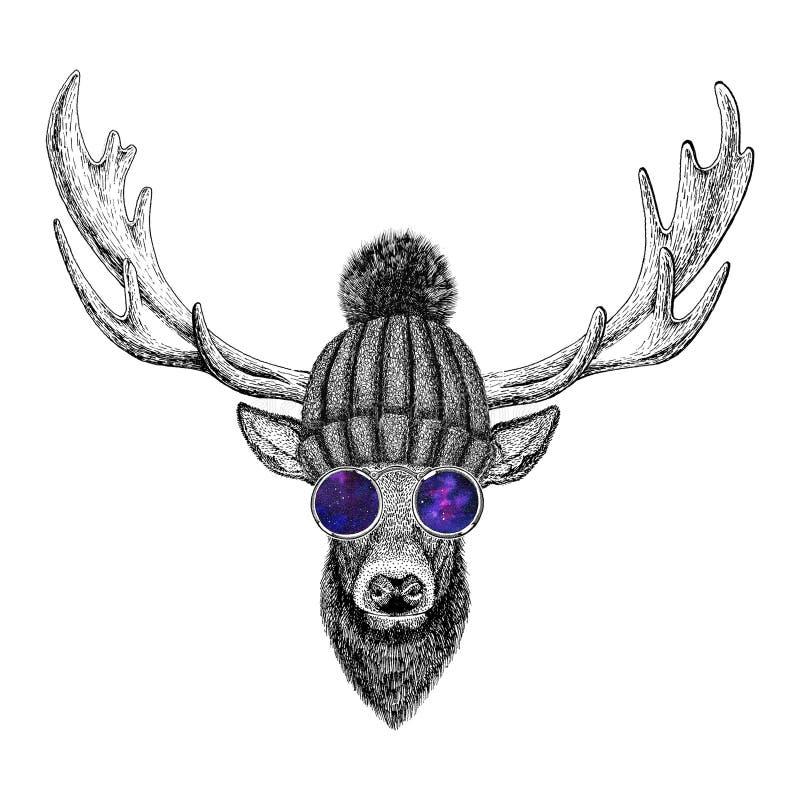 Illustration animale de style de vintage de hippie à la mode frais de cerfs communs pour le tatouage, logo, emblème, conception d illustration de vecteur