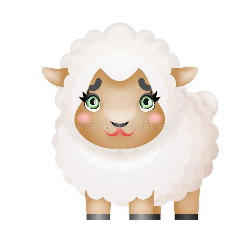Illustration animale de vecteur de conception de bande dessinée de petit mammifère domestique mignon de ferme de moutons d'agneau illustration libre de droits