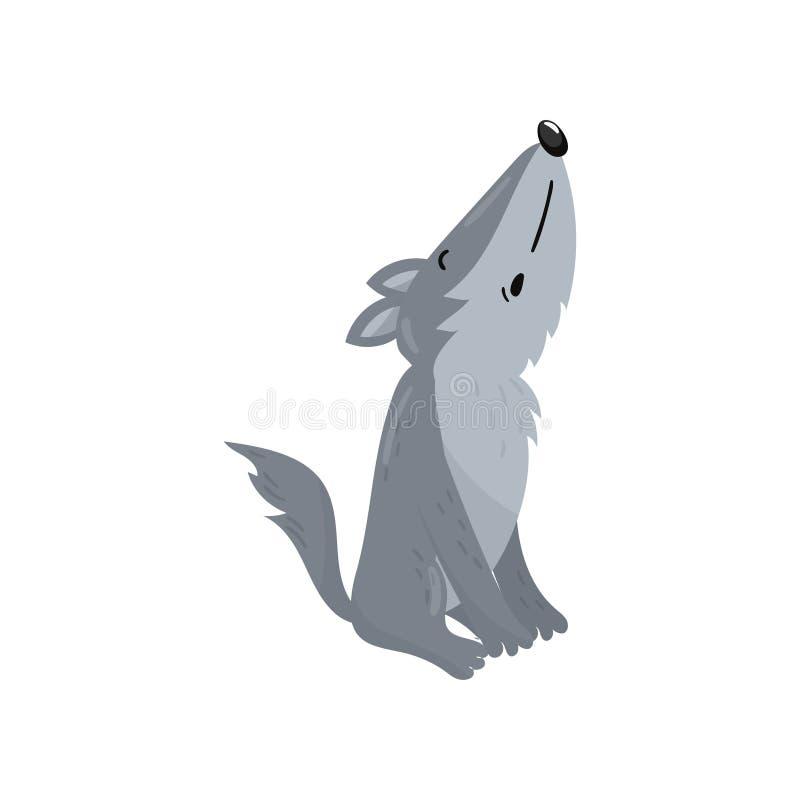 Illustration animale de vecteur de loup de région boisée de bande dessinée mignonne d'hurlement illustration stock
