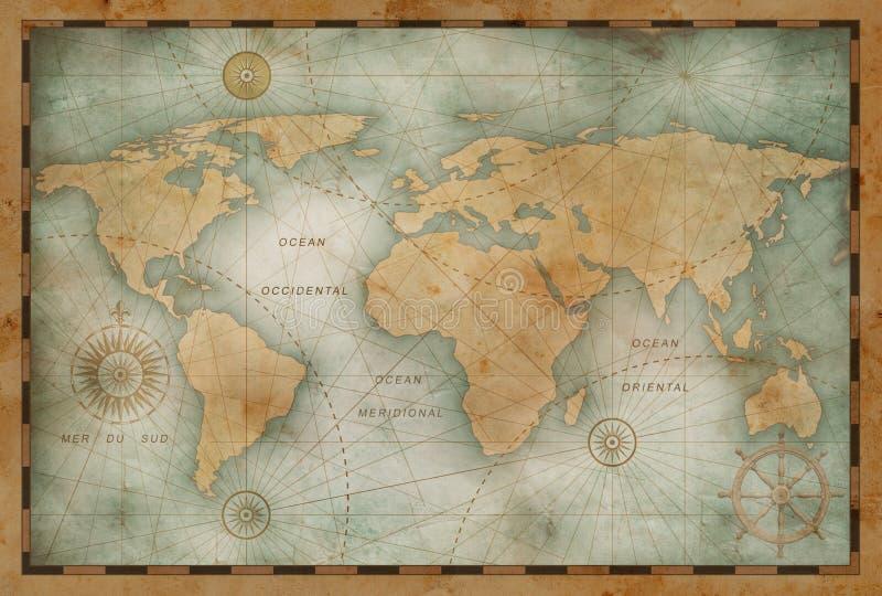 Illustration antique de carte du monde basée sur l'image meublée par la NASA illustration stock