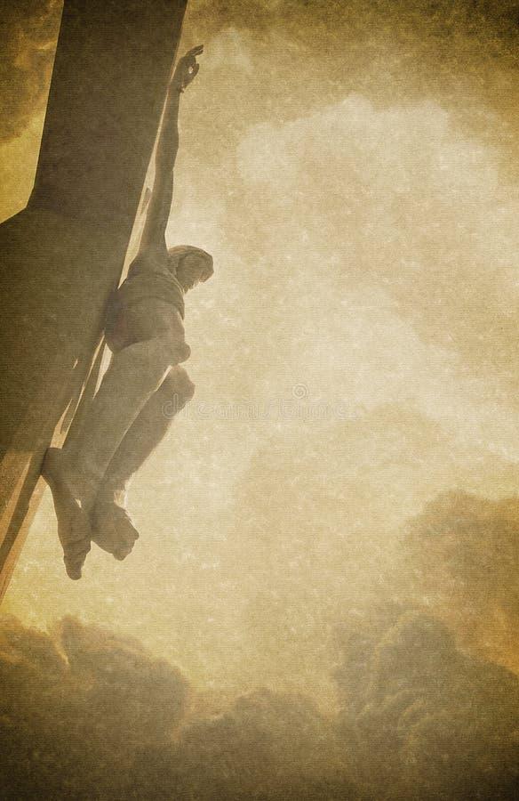 Illustration antique de fond de photo de Pâques avec les textures de toile et Jesus Christ sur la croix fanée illustration libre de droits