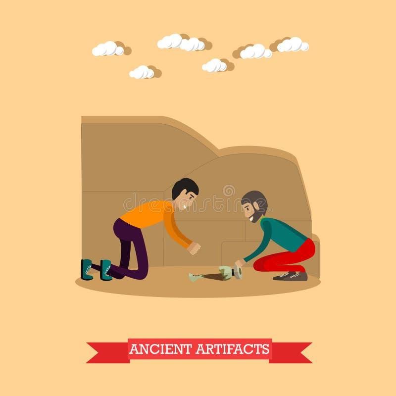 Illustration antique de vecteur de concept d'objets façonnés dans le style plat illustration stock