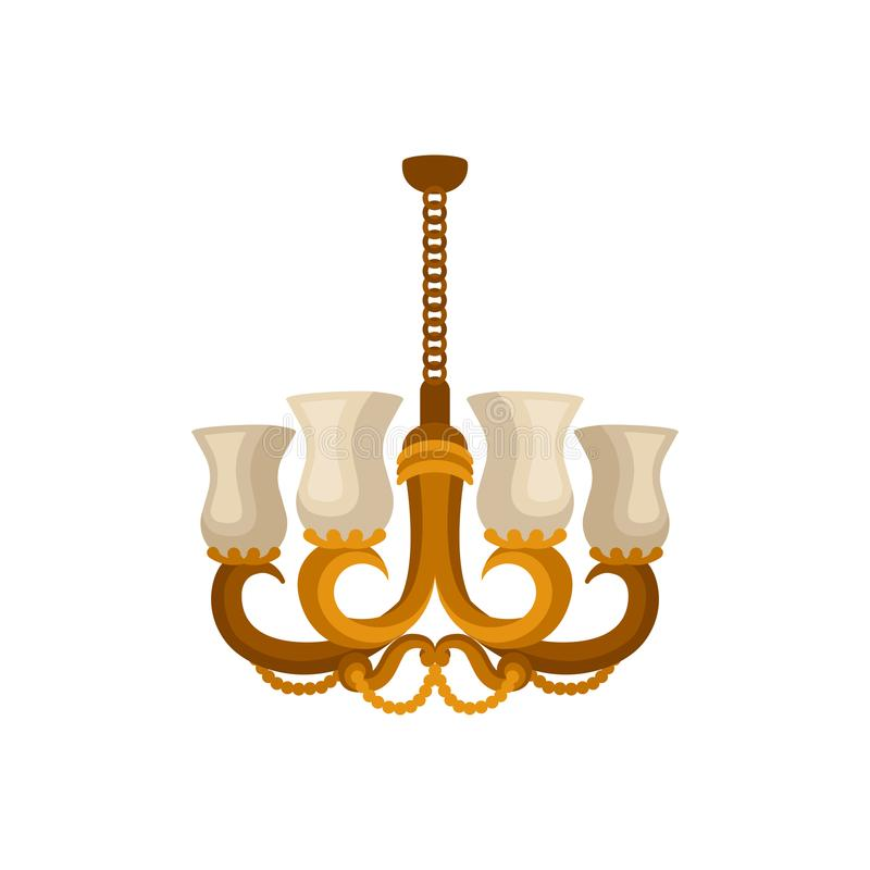 Flat vector icon of antique golden chandelier. Decorative hanging light with four branches for light bulbs. Illustration of antique golden chandelier. Decorative royalty free illustration
