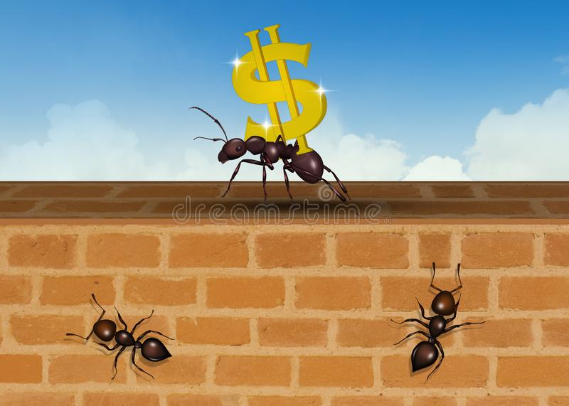 Ants team up for success royalty free stock photo