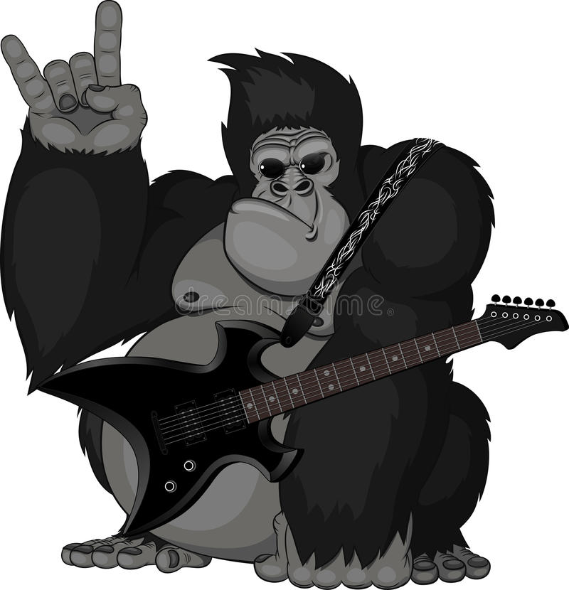 Illustration: apa med en gitarr stock illustrationer