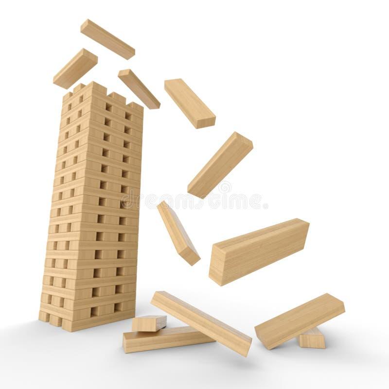 Building Falling Down : Model apartment block falling down royalty free stock