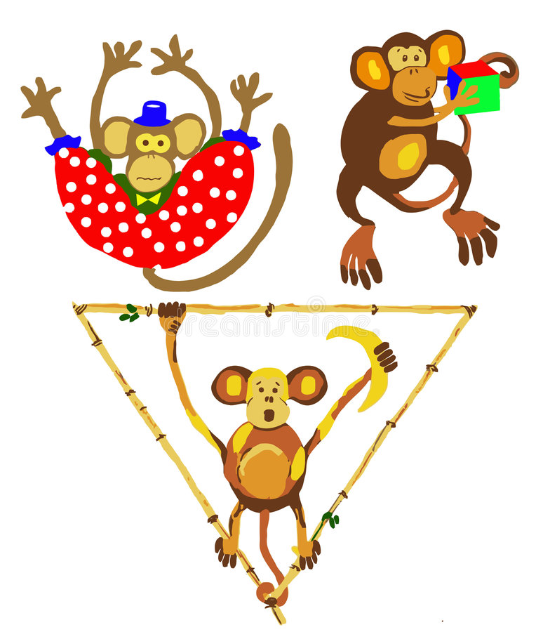 Illustration Of The Apes Stock Images