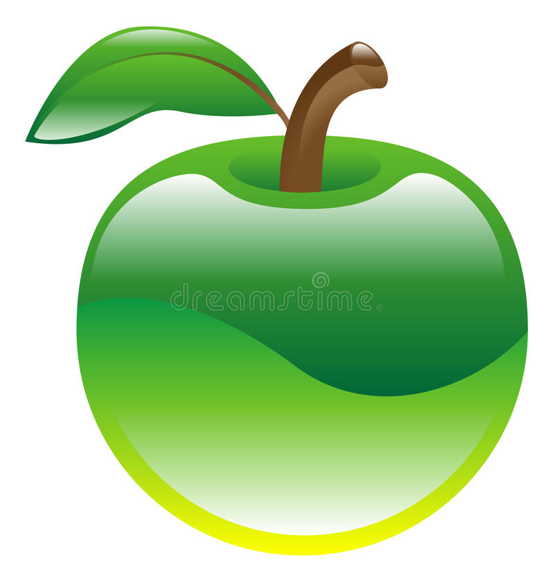 Illustration of apple fruit icon clipart. An illustration of green apple fruit icon clipart royalty free illustration