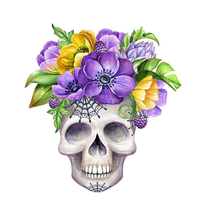 Illustration aquarelle, crâne humain orné de fleurs tropicales, clip art isolé sur blanc, personnage d'Halloween illustration de vecteur