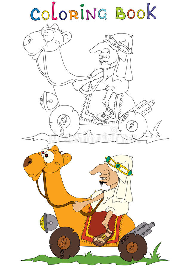 Illustration of a Arabian Bedouin Riding A Camel. Coloring book stock illustration