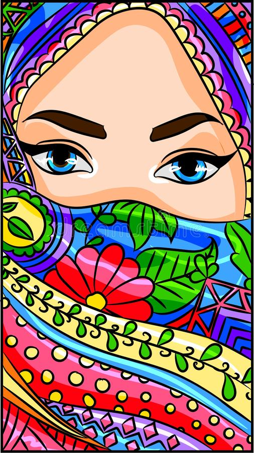 Illustration of an arabic, indian, oriental beuty wearing a hijab, niqab, sari scarf on her face.Vector of a muslim islam bedouin. Woman with a traditional vector illustration