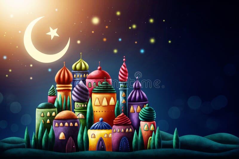 Illustration of arabic mosque. Ramadan Kareem vector illustration