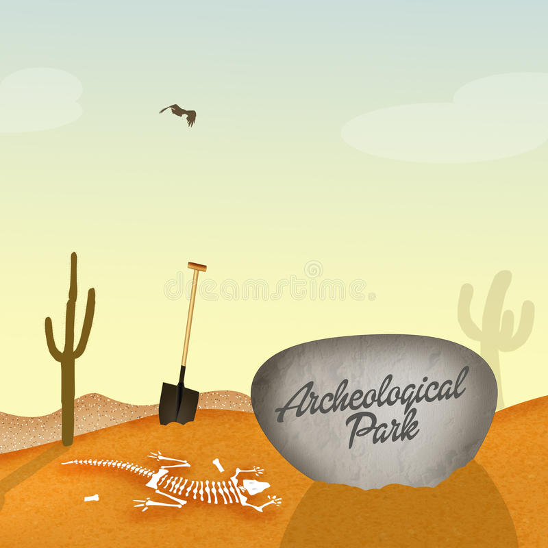 Archaeological park with fossils. Illustration of archaeological park with fossils stock illustration