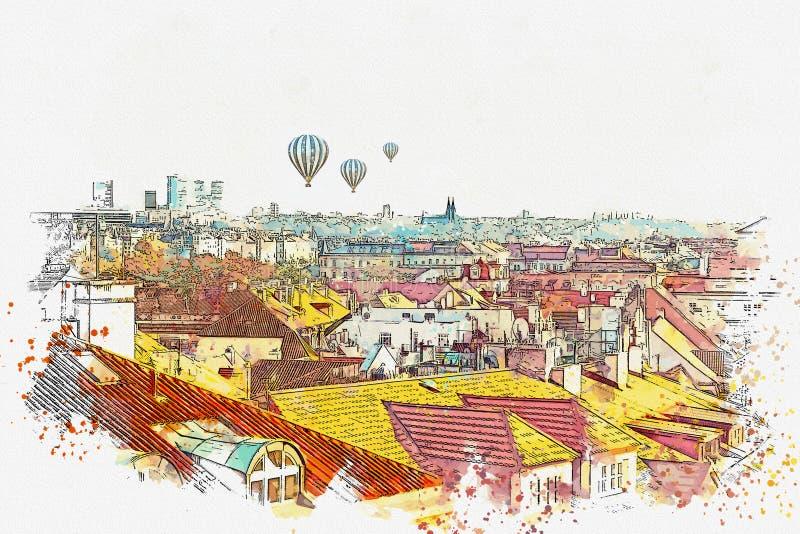 Illustration Architecture antique traditionnelle à Prague illustration de vecteur