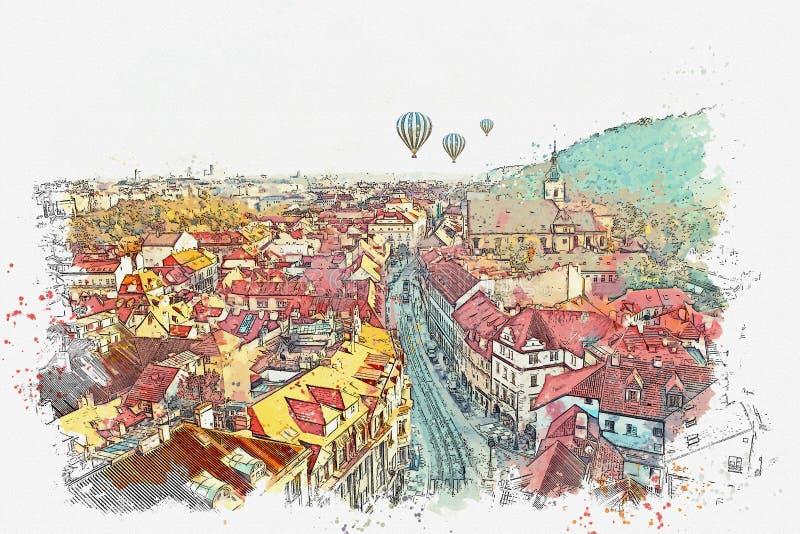 Illustration Architecture antique traditionnelle à Prague illustration libre de droits