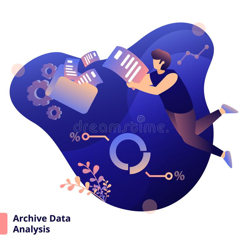 Illustration. Archive Data Analysis, a modern  style concept, can be used for landing pages, web, ui, banners, templates, backgrounds, flayer, posters - Vector stock illustration