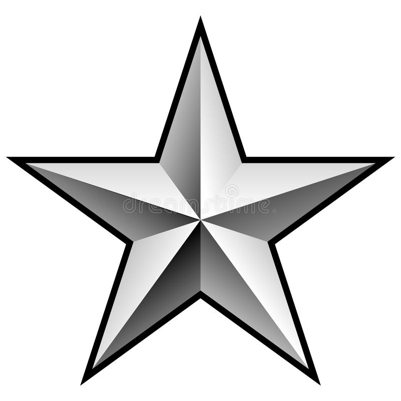 Illustration argentée brillante de vecteur d'étoile de Chrome illustration de vecteur