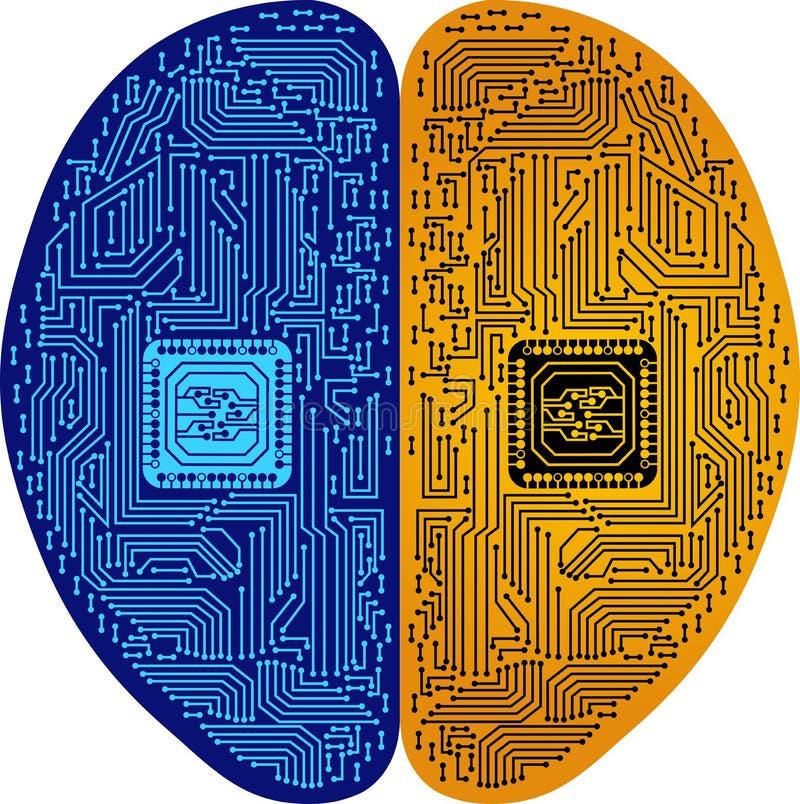 Brain circuit logo vector illustration