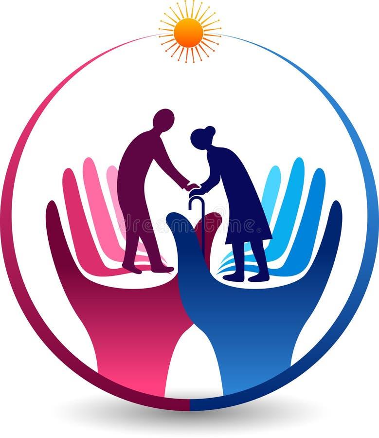 Care senior citizen logo. Illustration art of a care senior citizen logo with isolated background vector illustration