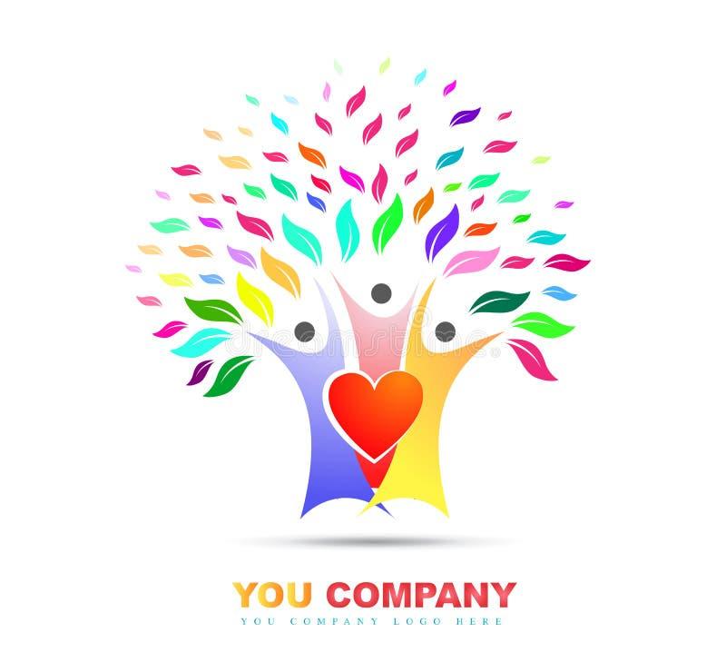 Family tree love colorful logo vector royalty free illustration
