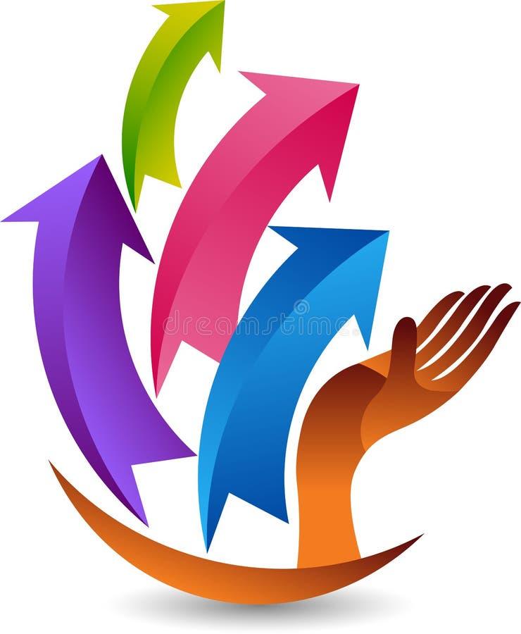 Hand arrow logo royalty free illustration