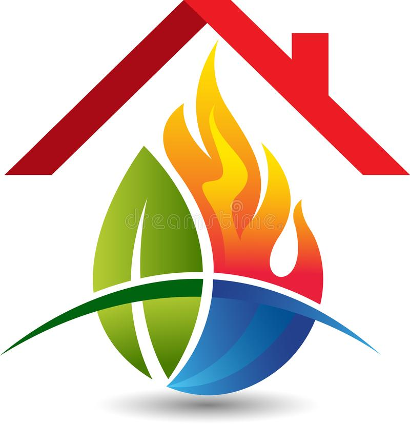 Leaf water flame and home logo vector illustration