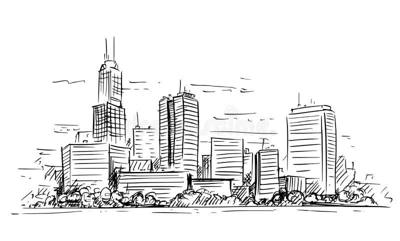 Illustration artistique de dessin de vecteur de paysage ayant beaucoup d'étages de paysage urbain de ville générique avec des bât illustration stock