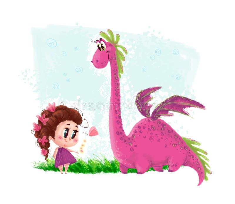 Illustration artistique tirée par la main de petite fille mignonne et de dinosaure amical avec des éléments de nature illustration stock