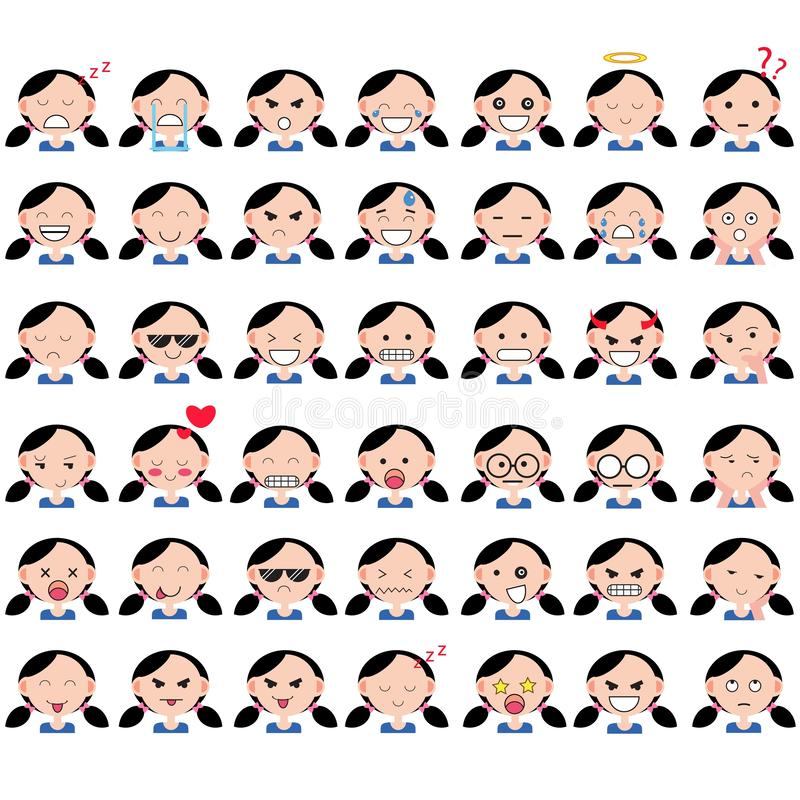 Illustration of asian cute girl faces showing different emotions. Joy, sadness, anger, talking, funny, fear, smile. Isolated vector illustration