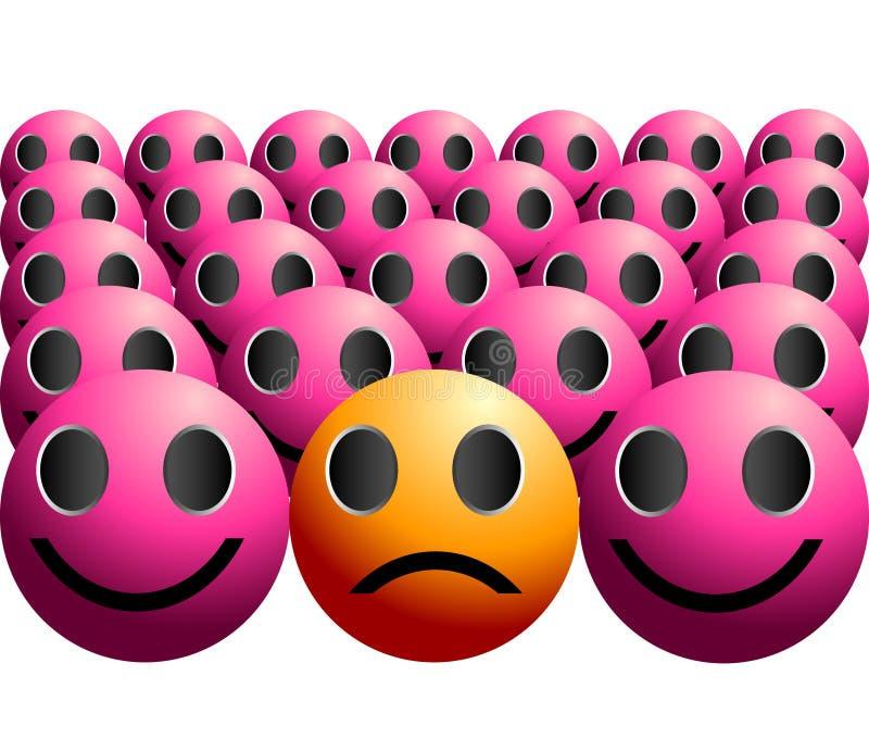 Illustration asociale triste mélancolique de tristesse illustration de vecteur