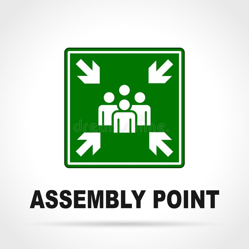 Assembly point green sign. Illustration of assembly point green sign vector illustration