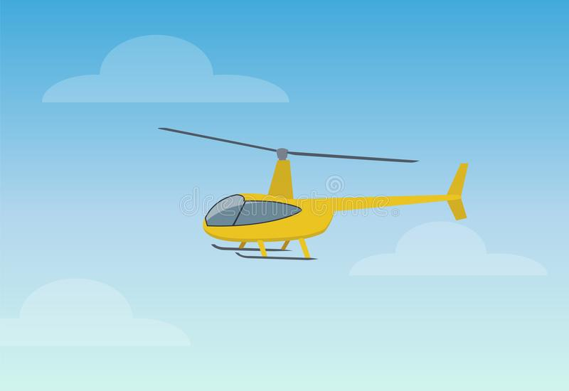 Illustration assez jaune de vecteur de couleur d'hélicoptère illustration de vecteur