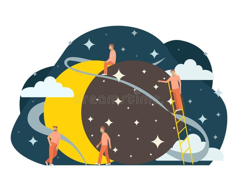 Illustration astrolomy plate de petites personnes ?clipse de Sun illustration libre de droits