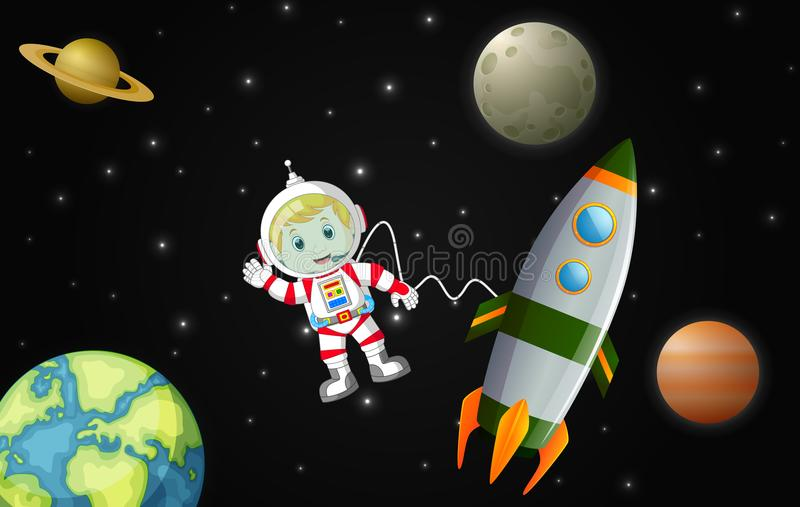 The astronauts exploring the galaxy royalty free illustration