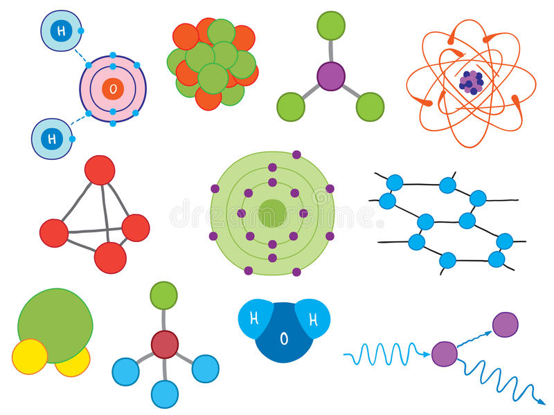 Illustration Of Atoms And Molecules Royalty Free Stock Photo
