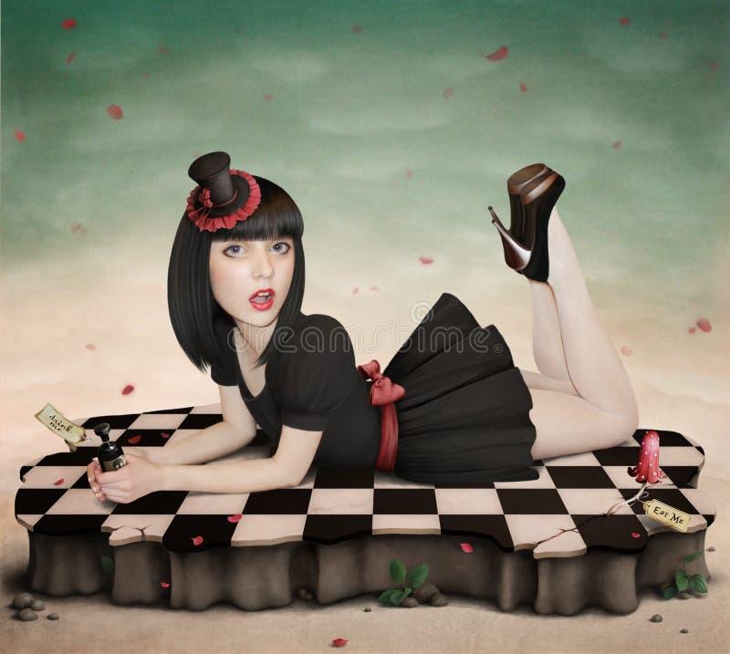 Illustration au conte de fées Alice dans Wonderlan illustration stock
