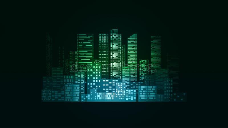 Illustration au néon avec des bâtiments et des gratte-ciel de ville illustration libre de droits
