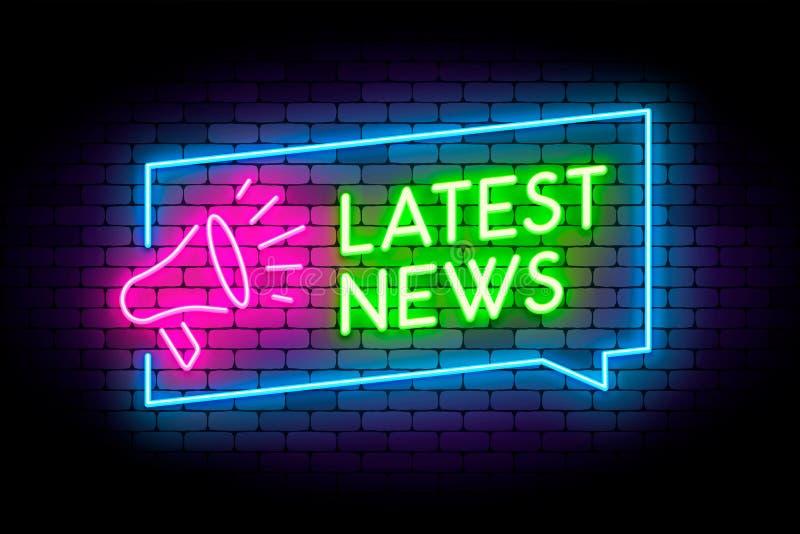 Illustration au néon de dernières nouvelles sur le mur avec le signe de mégaphone illustration stock