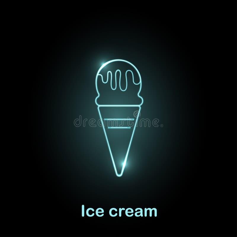 Illustration au néon de vecteur d'icône de nourriture illustration stock