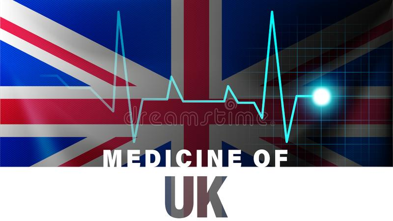 Illustration au trait BRITANNIQUE drapeau et battement de coeur Médecine du R-U avec le nom du pays illustration de vecteur