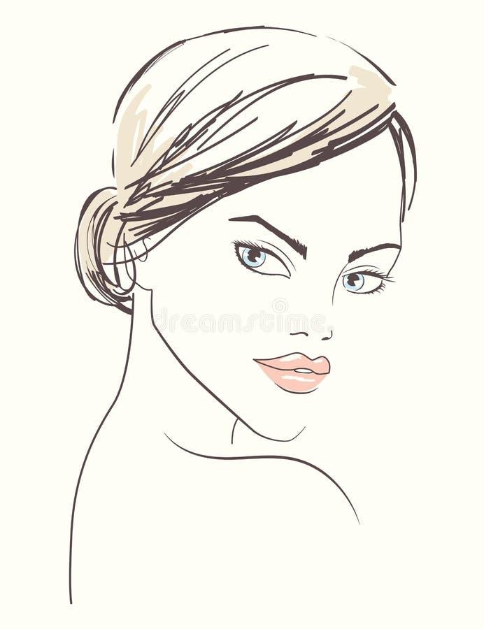 Illustration au trait d'un beau visage de femme illustration libre de droits