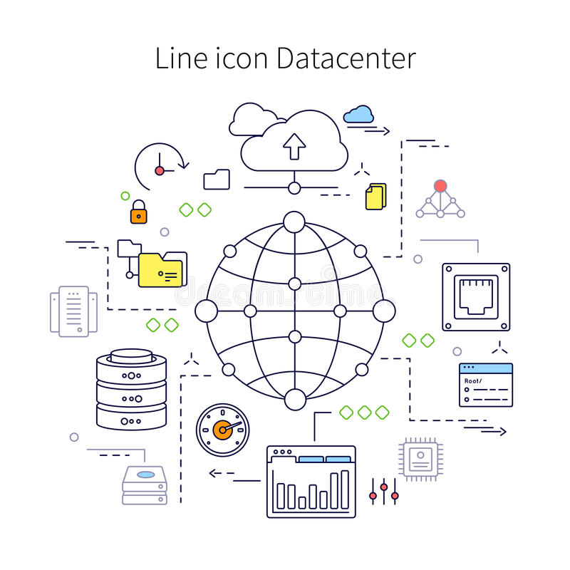 Illustration au trait Datacenter illustration libre de droits
