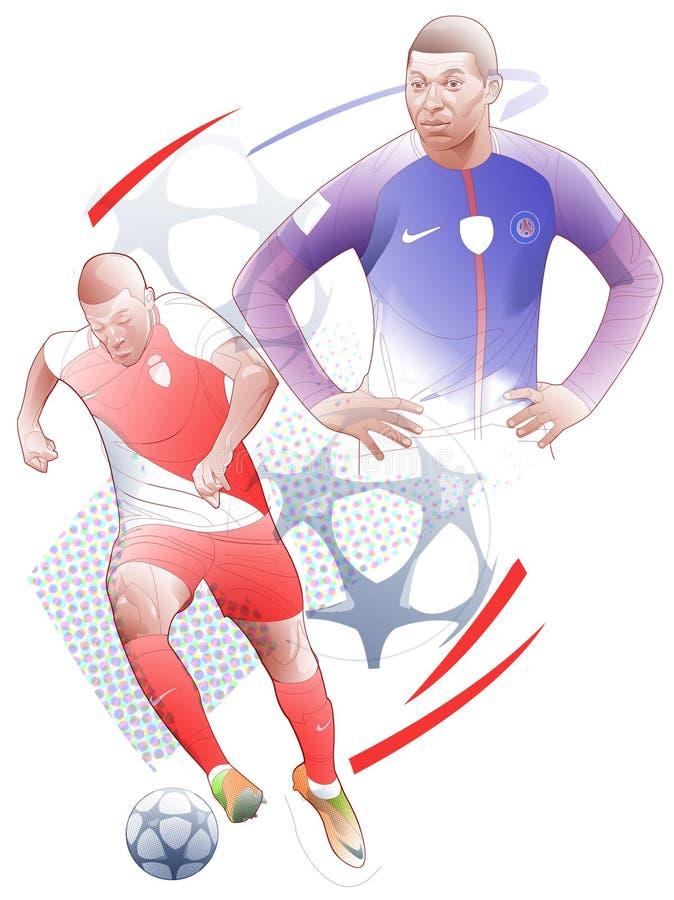 Illustration au trait graphique de mbappe kylian de footballeur illustration libre de droits