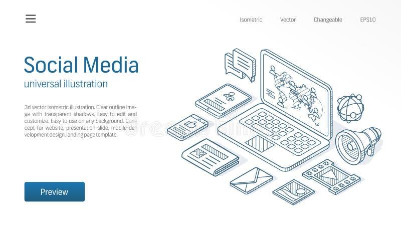 Illustration au trait isométrique moderne réseau social de media Le News feed, contenu de courrier, affaires communiquent le croq illustration stock