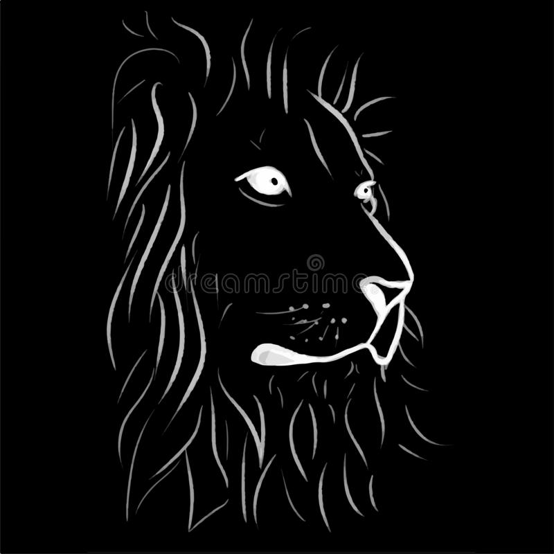 Illustration au trait lion d'impression illustration stock