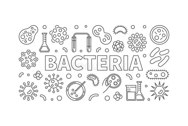 Illustration au trait mince horizontal bactéries Banne de concept de vecteur illustration de vecteur